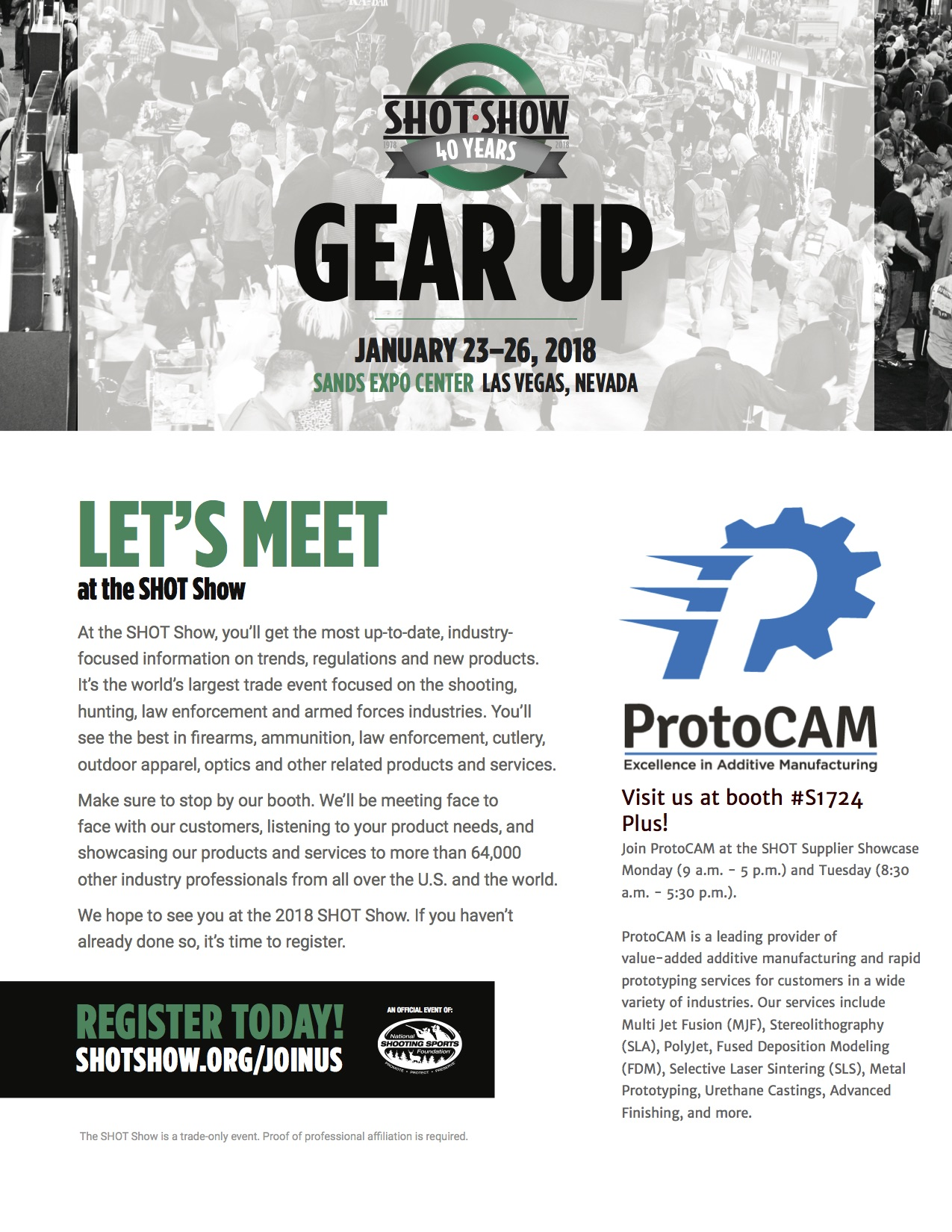SHOTSHOW Flyer ProtoCAM