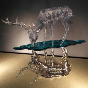 3D printed deer. clear, with reflection