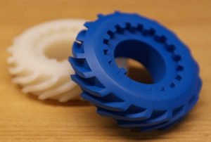 3D printed gears, blue, white